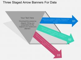 bw Three Staged Arrow Banners For Data Flat Powerpoint Design