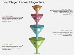bx Four Staged Funnel Infographics Flat Powerpoint Design