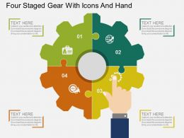 bx Four Staged Gear With Icons And Hand Flat Powerpoint Design