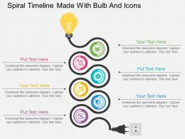 bx Spiral Timeline Made With Bulb And Icons Flat Powerpoint Design