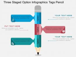 bx Three Staged Option Infographics Tags Pencil Flat Powerpoint Design