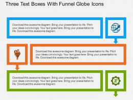 bx Three Text Boxes With Funnel Globe Icons Flat Powerpoint Design
