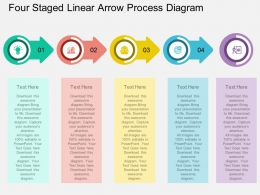 by Four Staged Linear Arrow Process Diagram Flat Powerpoint Design