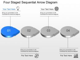 By Four Staged Sequential Arrow Diagram Powerpoint Template Slide