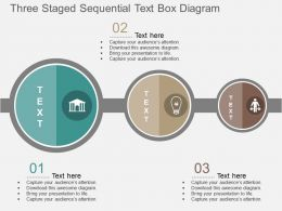 by Three Staged Sequential Text Box Diagram Flat Powerpoint Design