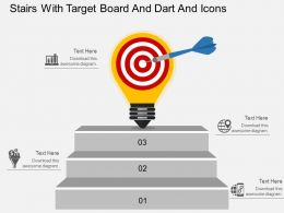 bz Stairs With Target Board And Dart And Icons Flat Powerpoint Design