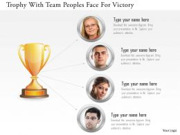 Bz Trophy With Team Peoples Face For Victory Powerpoint Template