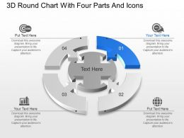Ca 3d Round Chart With Four Parts And Icons Powerpoint Template