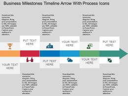 Ca Business Milestones Timeline Arrow With Process Icons Flat Powerpoint Design