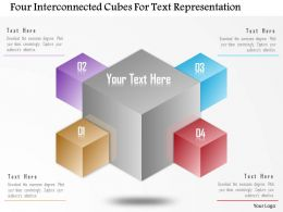 Ca Four Interconnected Cubes For Text Representation Powerpoint Template