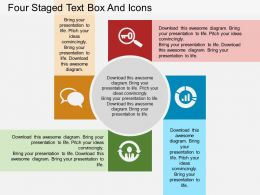 ca Four Staged Text Box And Icons Flat Powerpoint Design