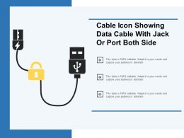 Cable Icon Showing Data Cable With Jack Or Port Both Side