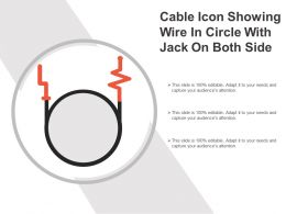 Cable Icon Showing Wire In Circle With Jack On Both Side