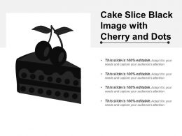 Cake Slice Black Image With Cherry And Dots
