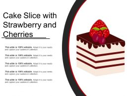 Cake Slice With Strawberry And Cherries