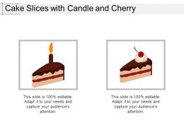 Cake Slices With Candle And Cherry