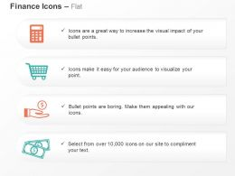 Calculate Shopping Cart Save Money Dollar Notes Ppt Icons Graphics