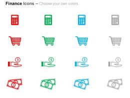 calculate_shopping_cart_save_money_dollar_notes_ppt_icons_graphics_Slide02