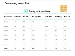 Calculating Asset Beta Equity Ppt Powerpoint Presentation Infographics Good