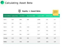 Calculating Asset Beta Tax Rate Ppt Powerpoint Presentation Model Graphics Download