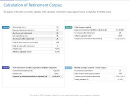 Calculation Of Retirement Corpus Ppt Powerpoint Presentation Infographic