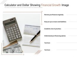 Calculator And Dollar Showing Financial Growth Image