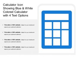 Calculator Icon Showing Blue And White Colored Calculator With 4 Text Options