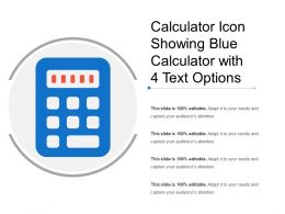 Calculator Icon Showing Blue Calculator With 4 Text Options