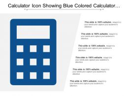 Calculator Icon Showing Blue Colored Calculator With 6 Text Options