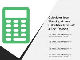 Calculator Icon Showing Green Calculator Icon With 4 Text Options