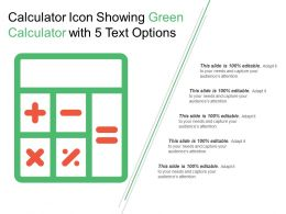 Calculator Icon Showing Green Calculator With 5 Text Options