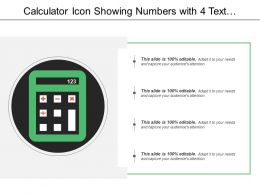 Calculator Icon Showing Numbers With 4 Text Options Ppt