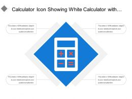 Calculator Icon Showing White Calculator With Text Options