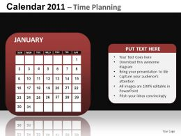 Calendar 2011 Time Planning Powerpoint Presentation Slides DB