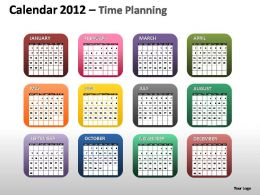 Calendar 2012 Time Planning Powerpoint Presentation Slides