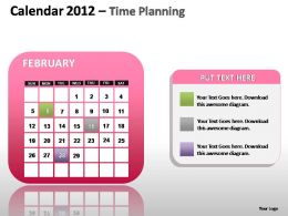Calendar 2012 Time Planning Powerpoint Presentation Slides