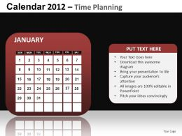 Calendar 2012 Time Planning Powerpoint Presentation Slides DB