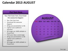 Calendar 2013 August PowerPoint Slides PPT templates