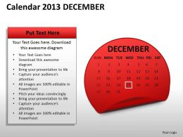 Calendar 2013 December PowerPoint Slides PPT templates