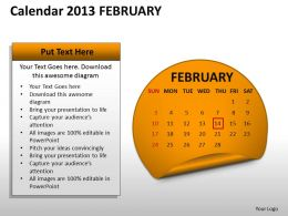 Calendar 2013 February PowerPoint Slides PPT templates