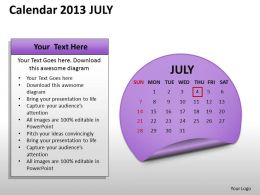 Calendar 2013 July PowerPoint Slides PPT templates