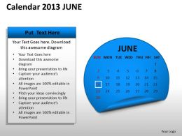 Calendar 2013 June PowerPoint Slides PPT templates