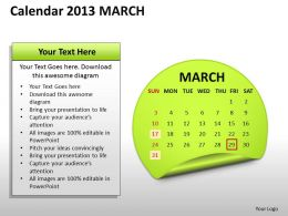Calendar 2013 March PowerPoint Slides PPT templates