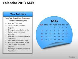 Calendar 2013 May PowerPoint Slides PPT templates