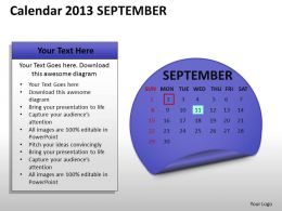 Calendar 2013 September PowerPoint Slides PPT templates