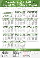 Calendar August 2018 To August 2019 Holidays Report Presentation Report Infographic PPT PDF Document