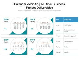 Calendar Exhibiting Multiple Business Project Deliverables