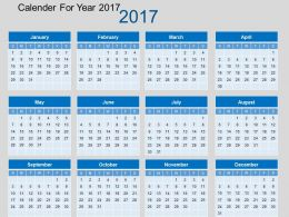 Calendar For Year 2017 Flat Powerpoint Design