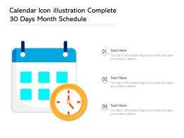 Calendar Icon Illustration Complete 30 Days Month Schedule