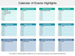 Calendar Of Events Highlights